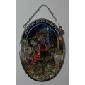 """AMIA - HAND PAINTED GLASS   """"LITTLE DRUMMER BOY SMALL OVAL SUN-CATCHER -  HAND PAINTED"""" 8050  MIB"""