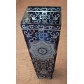 """AMIA - HAND PAINTED GLASS   """"DELFT BLUE VASE - 13"""" High  HAND PAINTED"""" 9833  MIB"""
