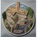 "DAVID WINTER COTTAGES   ""WALL PLAQUE - ON THE RIVERBANK "" COLLECTOR'S GUILD HANDMADE IN ENGLAND"