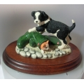 "BORDER FINE ARTS HANDMADE IN SCOTLAND   ""BORDER COLLIE PUP & KITTEN "" NOT MY SIZE RR02 MINT WITH BOX"