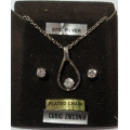 "GEM STONES JEWELLERY   ""CUBIC ZIRCONIA PENDANT AND EARRINGS SET STG. SILVER SETTINGS""   NEW IN BOX"