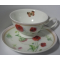 BUTTERFLY GARDEN PINK CUP & SAUCER S303100 Gift Boxed