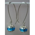 """PASTICHE  """"LOVELINKS""""  EARRINGS FITTINGS WITH PETITE FACETED MURANO AQUAMARINE LINKS SILVER"""" XM207 & XH002 MINT"""