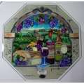 """AMIA - HAND PAINTED GLASS   """"WINE and CHEESE - 12"""" x 12"""" OCTAGON WITH STAND  HAND PAINTED"""" 6596  MIB"""