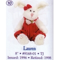 """BOYDS PLUSH COLLECTION  """"LAUREN""""TJ  ( BEARS BEST DRESSED COLLECTION) 9168-01"""
