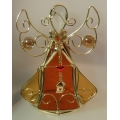 DECORATIVE PAINTED GLASS  ANGEL VOTIVE CANDLE HOLDER CT7398O