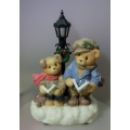 "CHERISHED TEDDIE ""JOHN AND WILLIAM CHRISTMAS THEME GROUP LIGHTS UP"" 533858 ( BATTERY NOT INCLUDED )  MINT IN BOX"