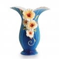 "FRANZ PORCELAIN ""TROPICAL BEAUTY - HIBISCUS FLOWER DESIGN VASE""  FZ1789  MINT IN BOX - FREE POSTAGE WITHIN AUSTRALIA"