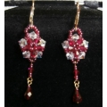 FASHION JEWELLERY LARGE FLOWER CRYSTAL RED/CLEAR DROP EARRINGS NEW NOT BOXED ABE12 FREE POSTAGE WITHIN AUSTRALIA