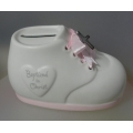 "ENESCO  ""BABY GIRL BOOT AND CROSS MONEY BANK"" 147035  FINE BONE CHINA  IN GIFT BOX"